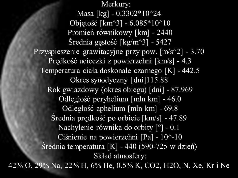 Merkury:y: Masa [kg] - 0. 3302. 10^24 Objętość [km^3] - 6. 085